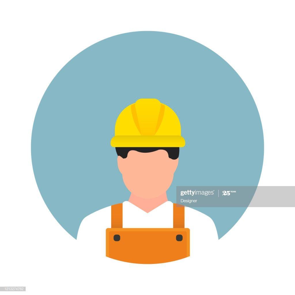Construction Worker Avatar Flat Icon Flat Vector Illustration Symbol Symbol Design Vector Illustration Illustration