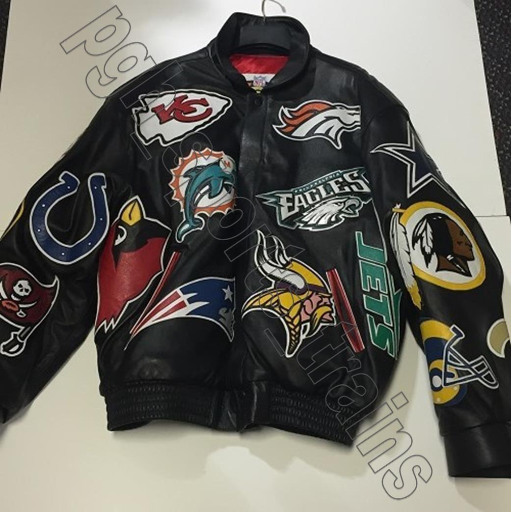 Jeff Hamilton REEBOK NFL Vintage Lambskin Leather Collage Jacket Black  X-Large 0bcb12960