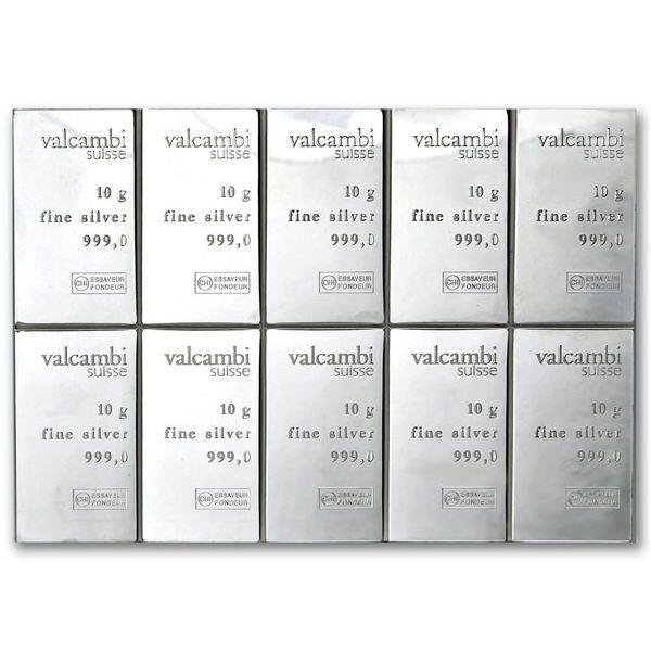 100 Gram Valcambi Silver CombiBar .999 fine 10x10g w// Assay