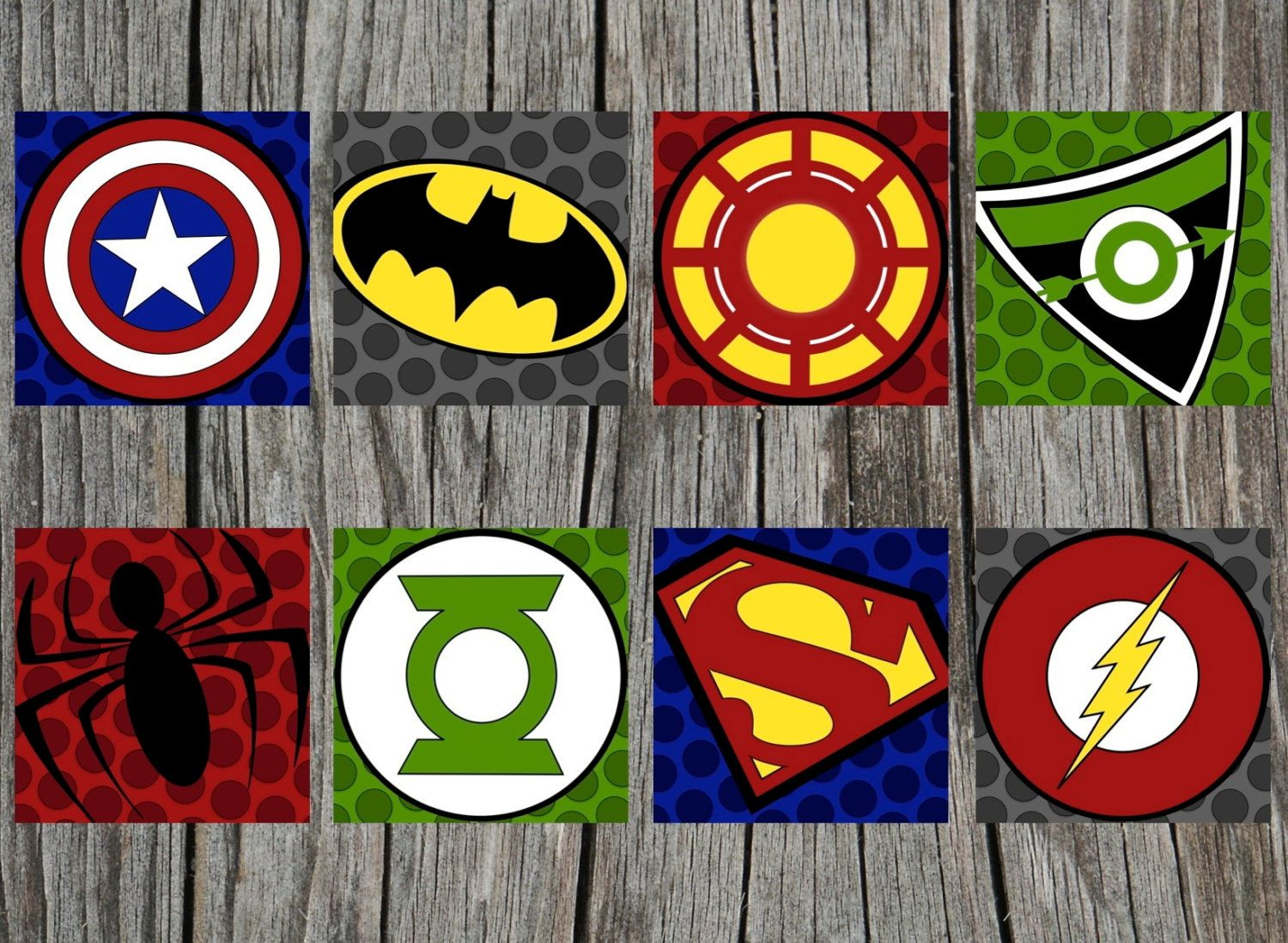 8 PRINTED Superhero Logo Art Prints PRINTED and by SissyandRubes ...