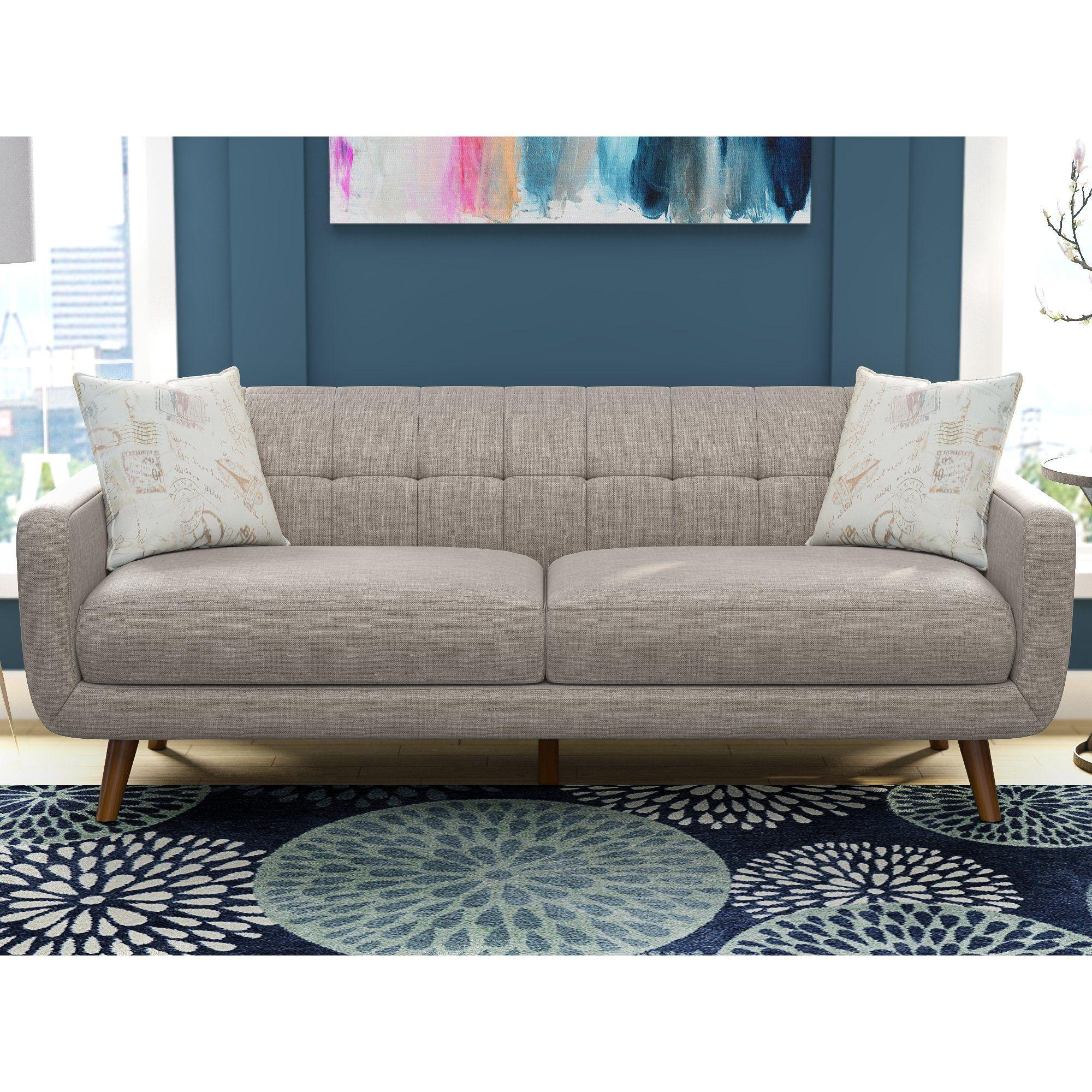 Latitude Run Mid Century Modern Sofa with accent pillows ...