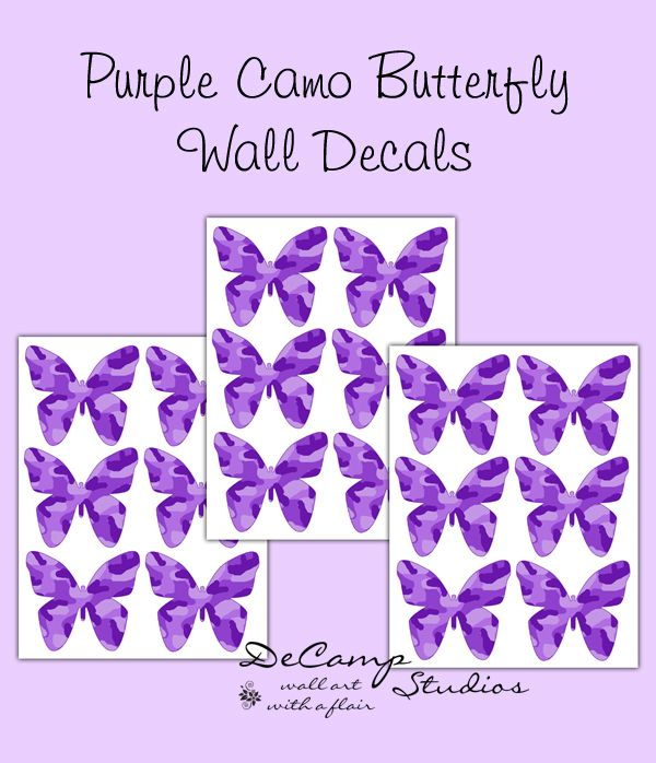 Purple Camo Butterfly Wall Decals for teen girls ...