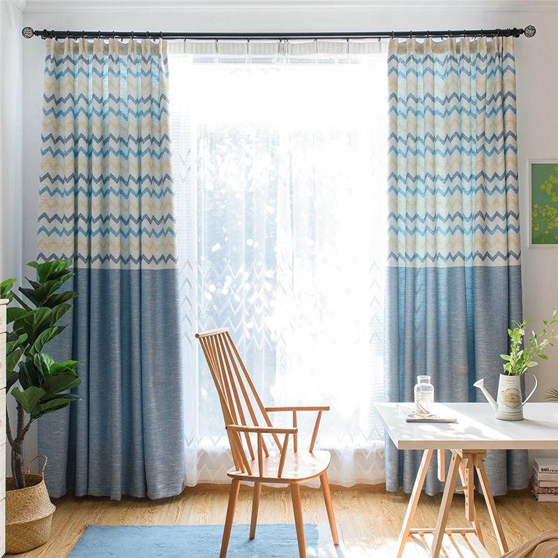 Moderner Vorhang Blau Wellen Splice Jacquard Im Wohnzimmer