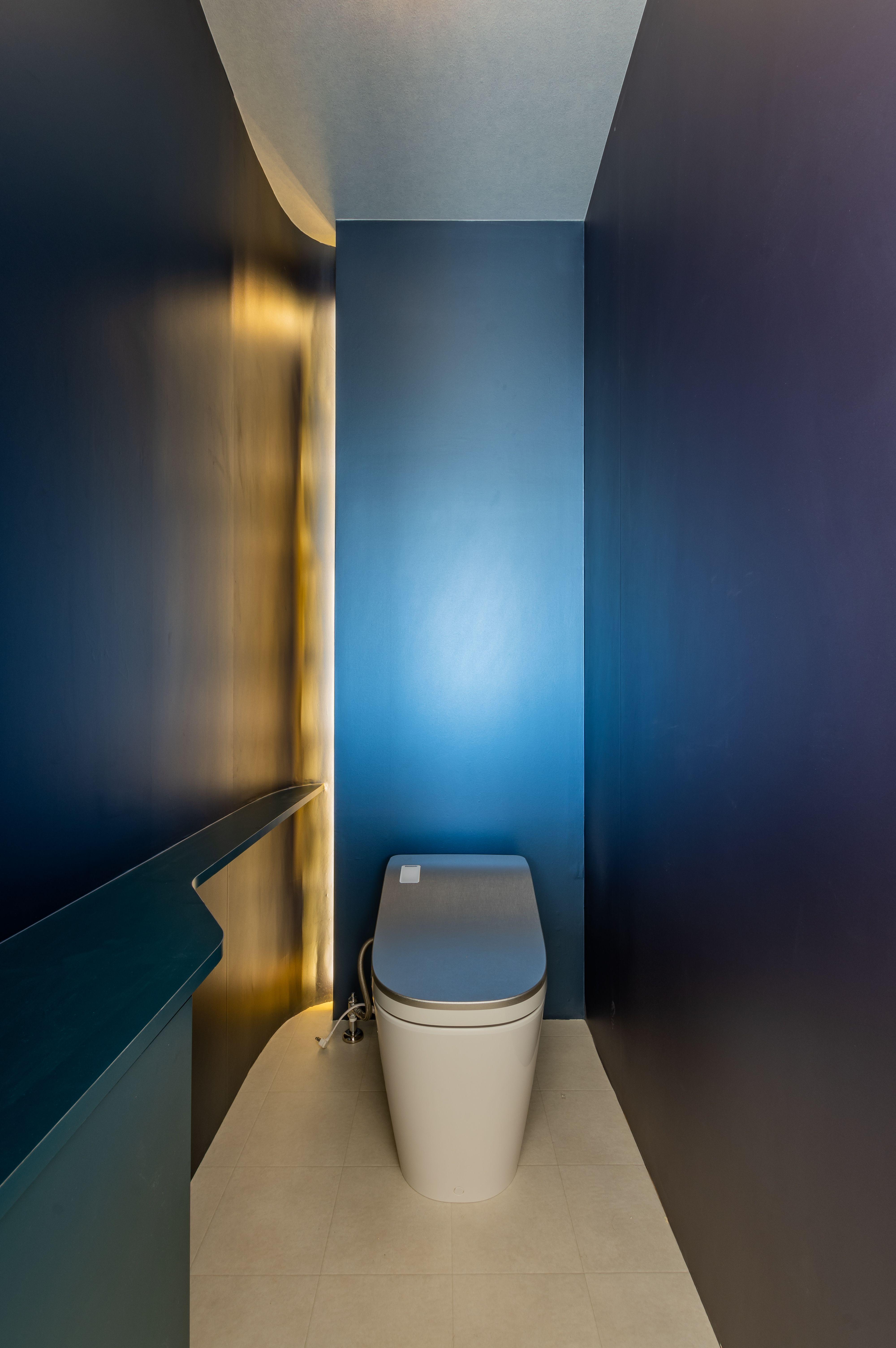 間接照明の使い方で神秘的でスタイリッシュなトイレに