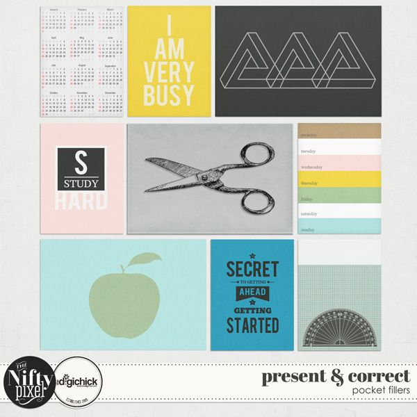 PRESENT & CORRECT | Pocket Fillers These fun & bold pocket fillers are perfect for back to school or study inspired themes. Because the designs are quite modern they are a great way to add some graphic flair to your digital scrapbook pages or pocket style projects.  DOWNLOAD INCLUDES:  9X Unique Designs (3X4 + 4X6 formats) Printable Sheets. All products are saved at 300ppi for optimum printing quality.