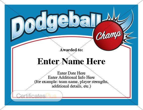 Dodgeball certificate, child certificate, kid certificate, outdoor ...