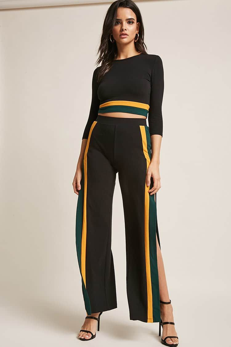 Knit Colorblock Split-Leg Pants