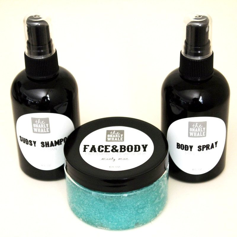 Manly Man Gift Set - Face and Body Scrub, Shampoo and Body Spray.