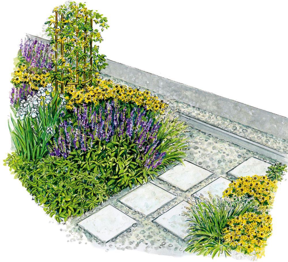 1 Garten 2 Ideen Eine Blutenreicher Durchgang An Der Hauswand Gartengestaltung Gebetsgarten Garten Bepflanzen