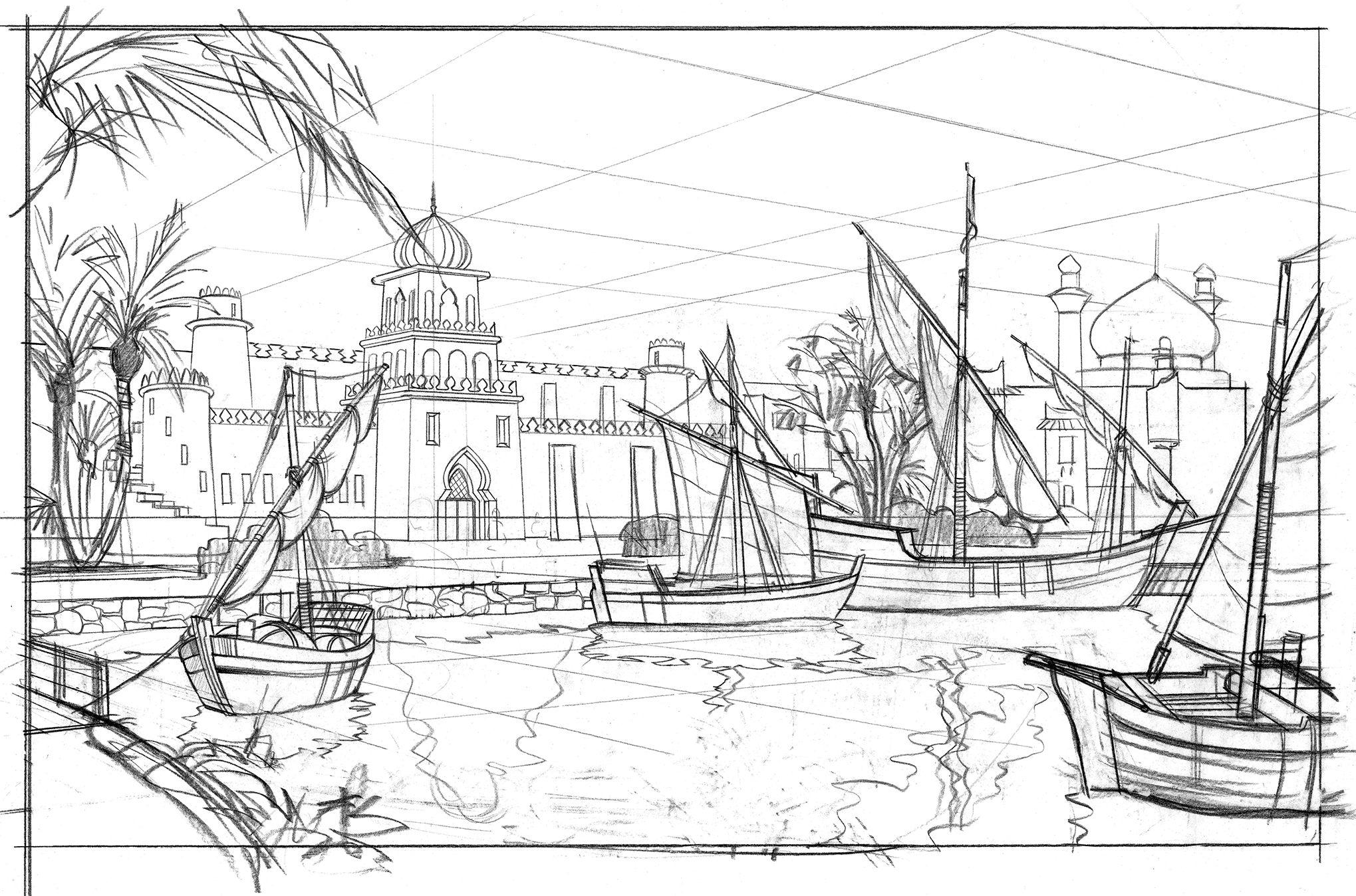 Original Line Drawing, Arabian Coast, Tokyo Disney Sea