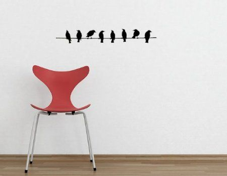 Amazon.com: Birds On A Wire - Vinyl Wall Art Decal Stickers Decor Graphics: Home & Kitchen