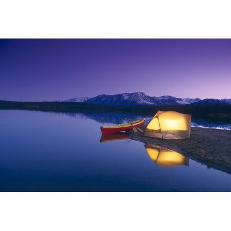 Lighted Tent & Canoe Byers Lake Tokosha Mts Sc Ak Evening Summer Canvas Art - Michael DeYoung Design Pics (34 x 22)