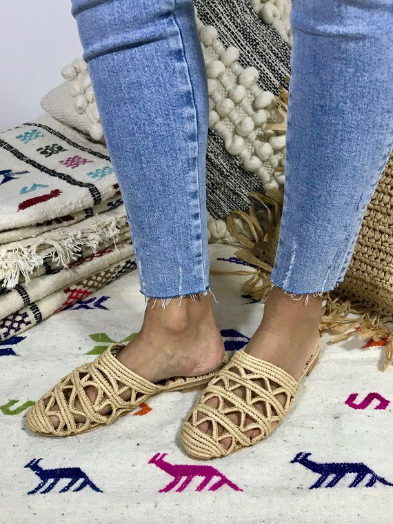 Raffia Slipper shoes with cut outs handmade straw bast