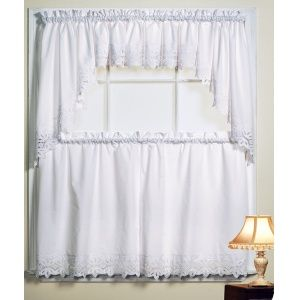Kitchen Curtains  Canjoy International Battenburg White Kitchen Impressive White Kitchen Curtains Inspiration