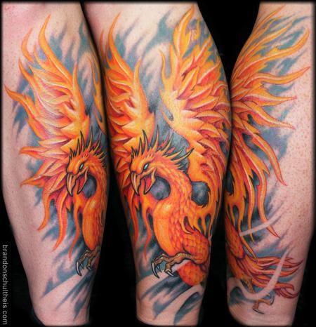 23b3f5ba6 phoenix tattoos on calf | TattooNOW : Tattoos : Brandon Schultheis :  Phoenix Tattoo