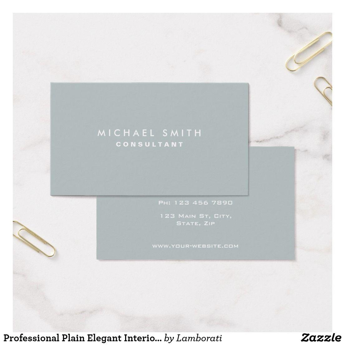 Professional Plain Elegant Interior Decorator Gray Business Card ...