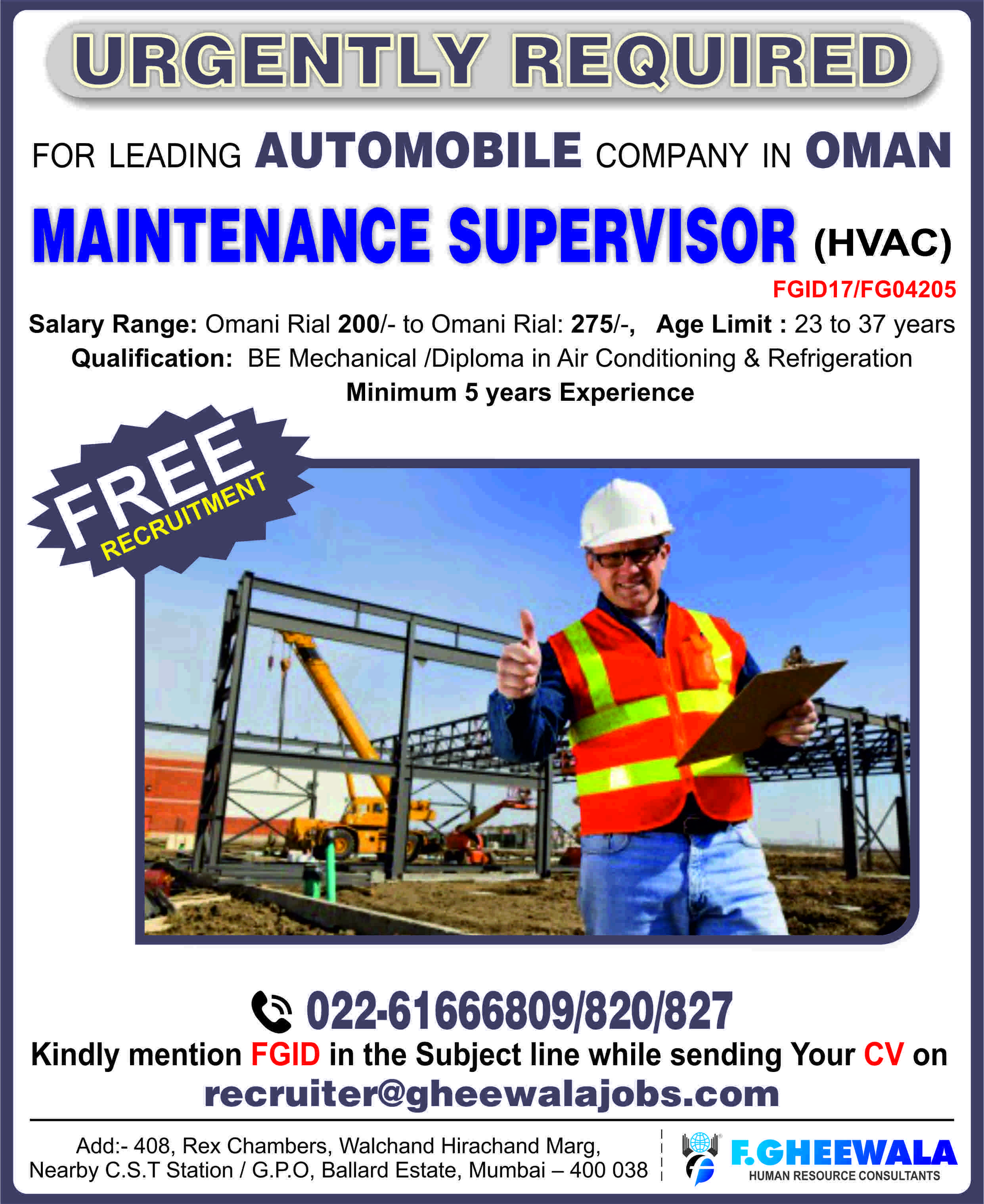 Urgently Required Maintenance Supervisor(HVAC) for Leading