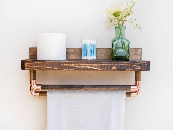 awesome floating bathroom shelves towel | Bathroom Floating Shelves, Farmhouse Bathroom Shelf in ...