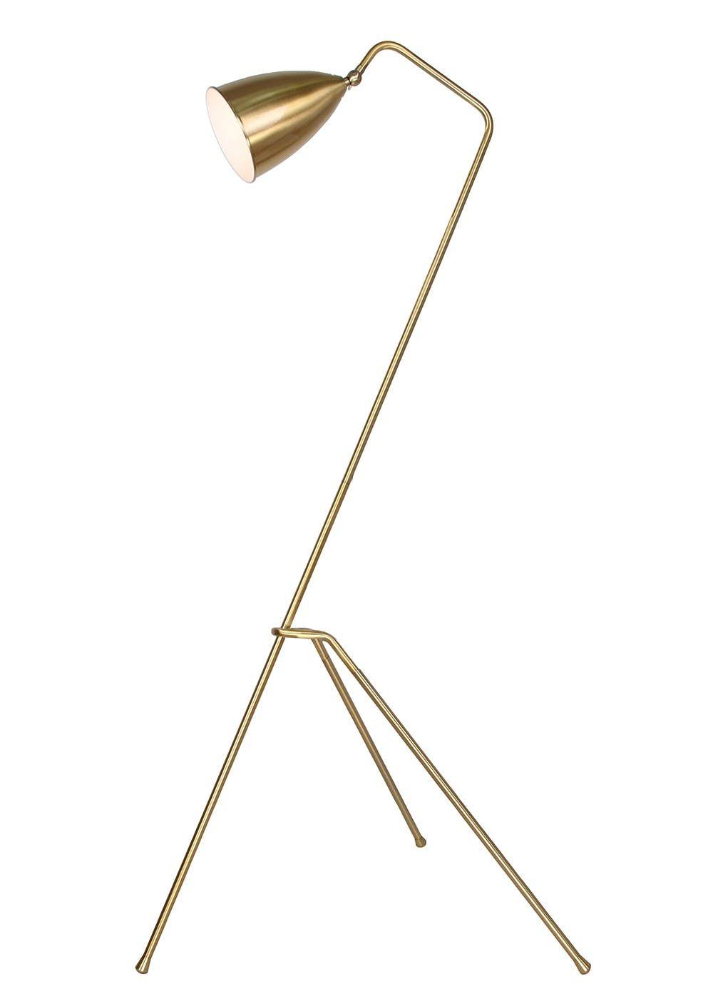 Cricket Brass Tripod Floor Lamp H151cm X W65cm Gold Brass