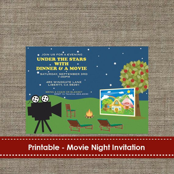 Backyard Under The Stars Movie Night Invitation DIY Printable In