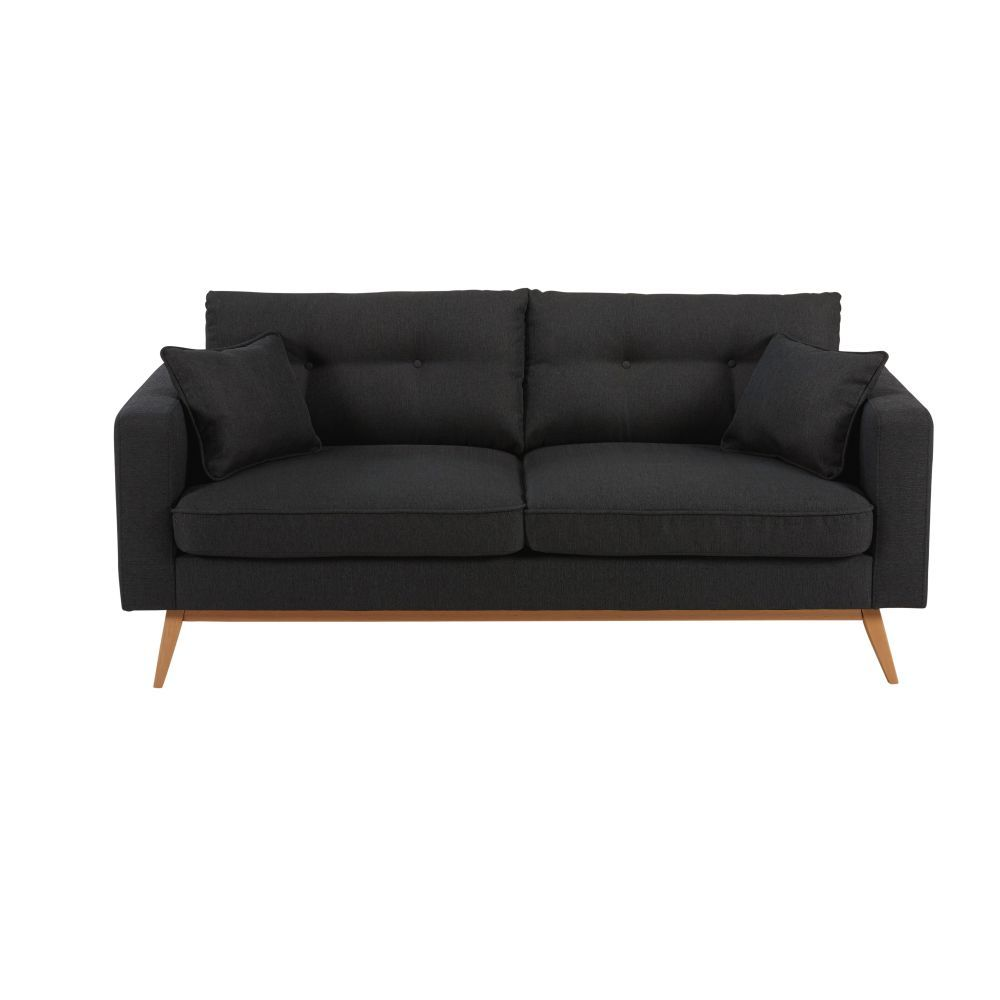 Canape Style Scandinave 3 Places Gris Anthracite Brooke Meuble