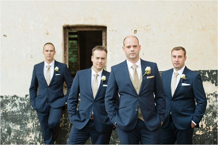 navy grooms suit with champagne gold tie ~ we ❤ this ...