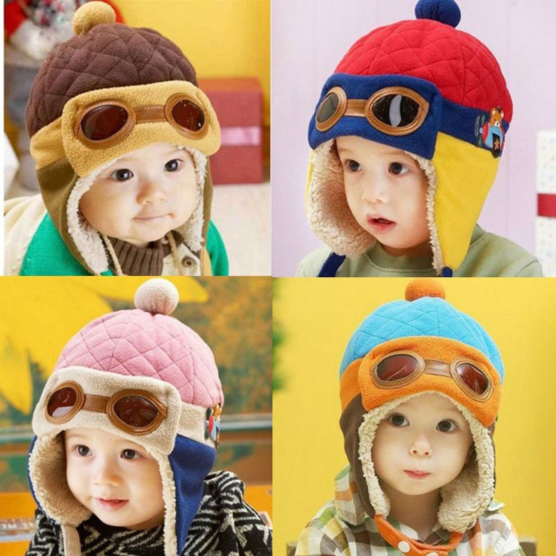 c1ef2219565 Winter Baby Earflap Toddler Girl Boy Kids Pilot Aviator Cap Warm Soft Beanie  Hat  UnbrandedGenenic