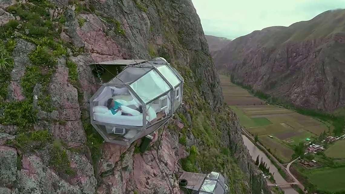 This epic cliff-hanging lodge is probably one of the most terrifyingly memorable rooms you could book for you and your sweetie to share. Hanging 400 feet (122 meters) above the ground in the Peruvian Andes, the sleeping pod features an incredible view and enough room for two people to snuggle up ...