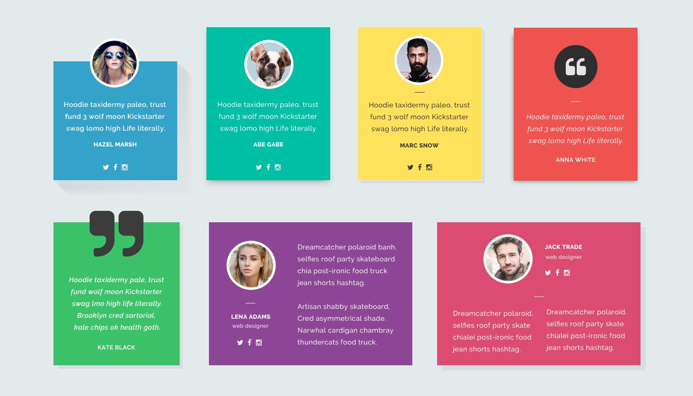 free material design inspired testimonials concept  available in psd  there are 7 styles of the