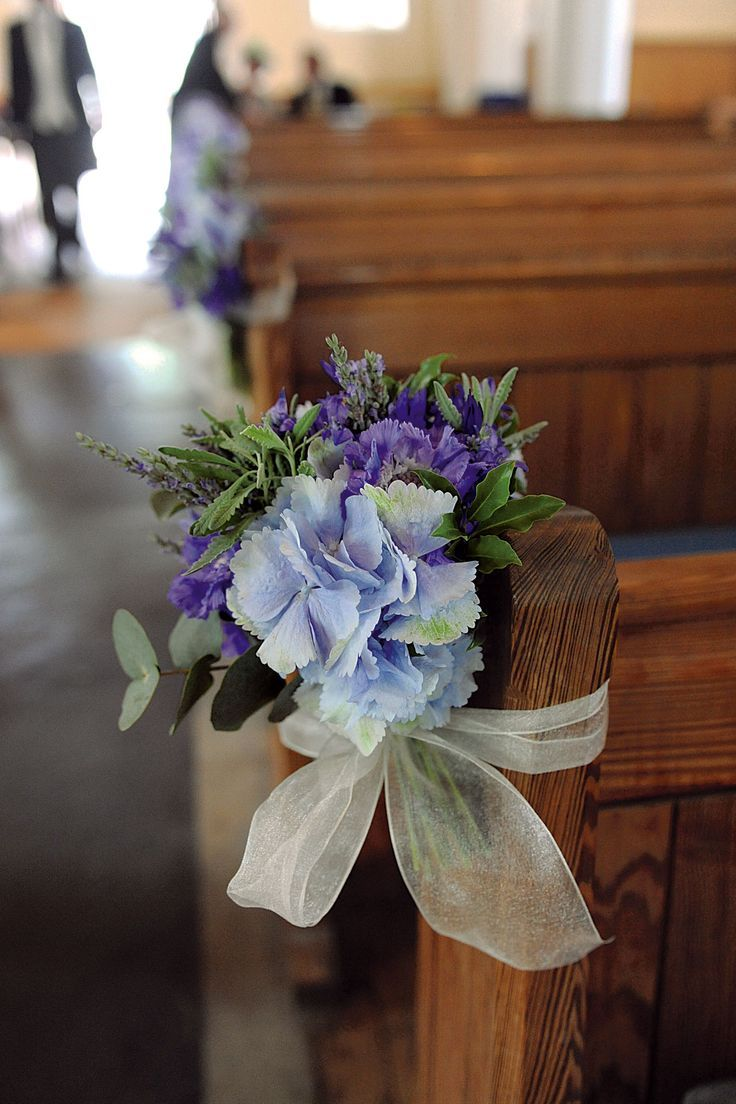 Church pew decorations be sure to give hydrangeas a water source church pew decorations be sure to give hydrangeas a water source as they wilt quickly without it junglespirit Gallery