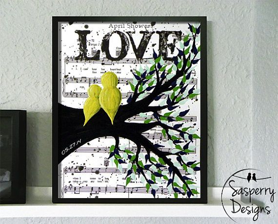 Daddy Daughter Yellow Birds In A Tree Painting