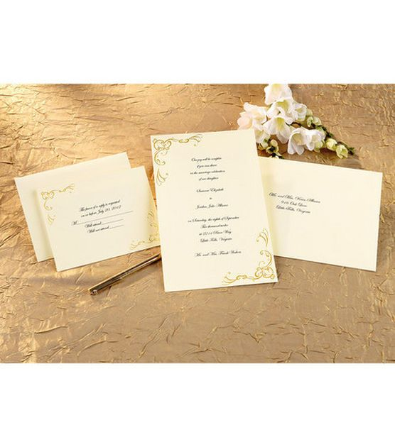 wilton wedding invitation kit scrollwork gold - Wilton Wedding Invitation Kits