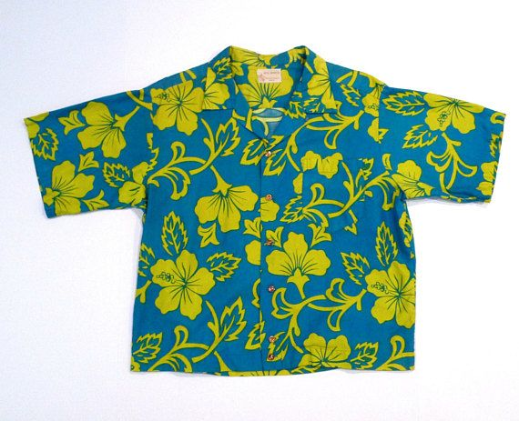 6e5542cf Royal Hawaiian Shirt 1950s 1960s Vintage Blue and Lime Green Hibiscus  Flower Aloha Shirt Tiki Pleate