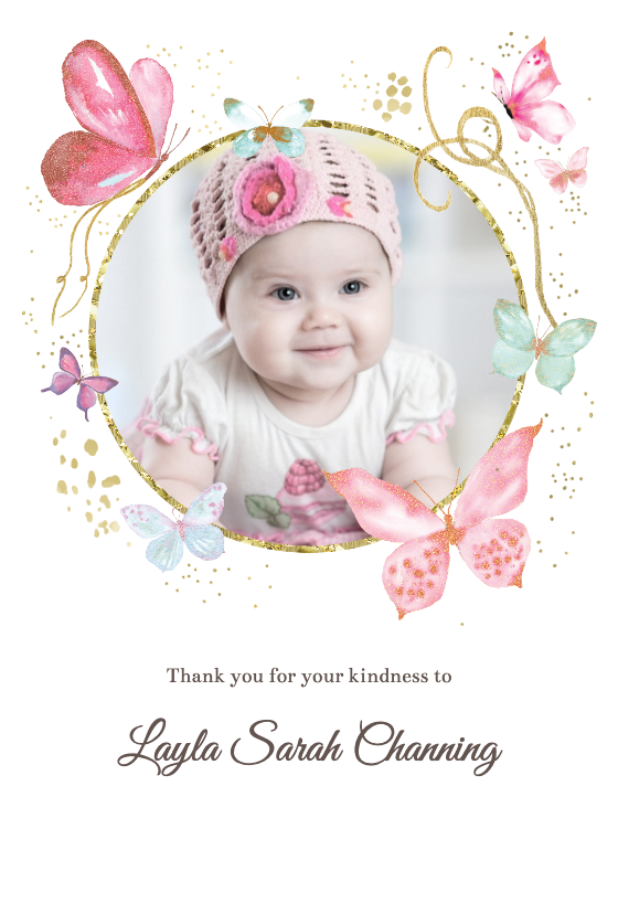 Magical Butterflies Thank You Card Template Greetings Island Baby Shower Thank You Cards Baby Shower Thank You Thank You Card Template