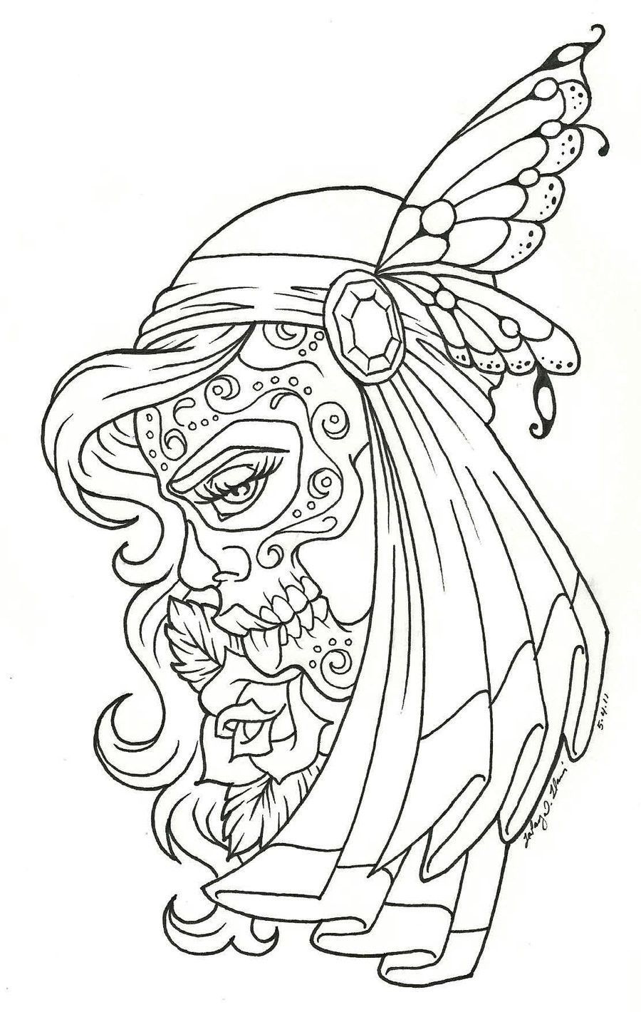 Sugar Skull Girl coloring page | Free Printable Coloring Pages | 1420x900