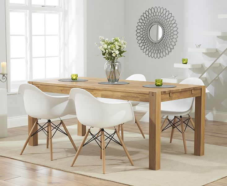 verona 180cm solid oak extending dining table with charles eames