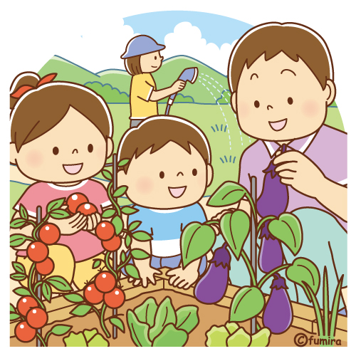 Illustration Of A Family Who Harvests Vegetables In The Kitchen