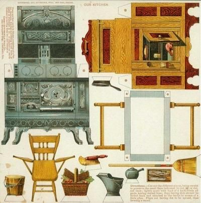 Vintage Furniture Paper Models For Doll Houses By
