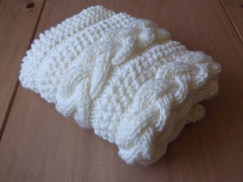Knitting Pattern Braided Cable Baby Blanket Basket Stuffer Lap