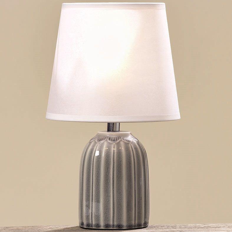 nachttischlampe 28 cm keramik grau nachttischleuchte. Black Bedroom Furniture Sets. Home Design Ideas