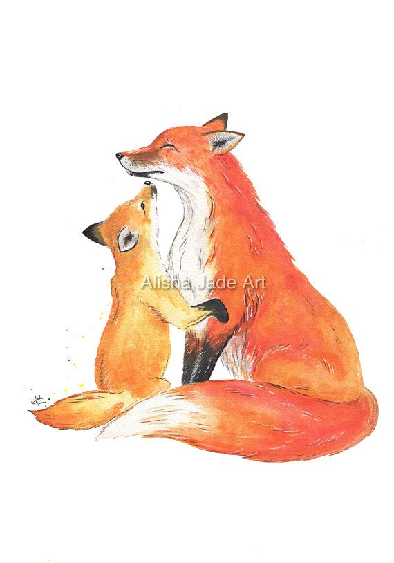 Fox Wall Art mother and baby kit fox, watercolour print, red fox, wall art