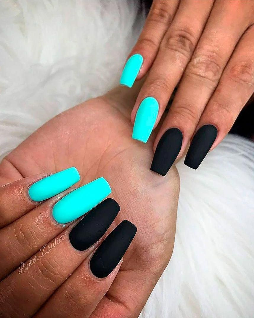 Cute Coffin Shaped Mint Green And Black Nails Nailscoffin In 2020 Mint Green Nails Green Nails Silver Glitter Nails