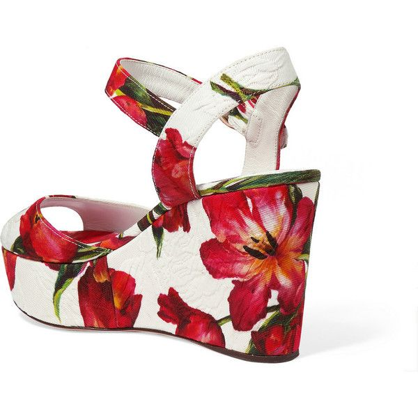 Dolce & Gabbana Floral-print brocade wedge sandals ($765) ❤ liked on Polyvore featuring shoes, sandals, red wedge sandals, ankle strap platform sandals, floral sandals, buckle sandals and floral wedge sandals