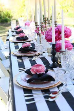 Decorations Kate Spade White Black Pink Fusia And Gold Party