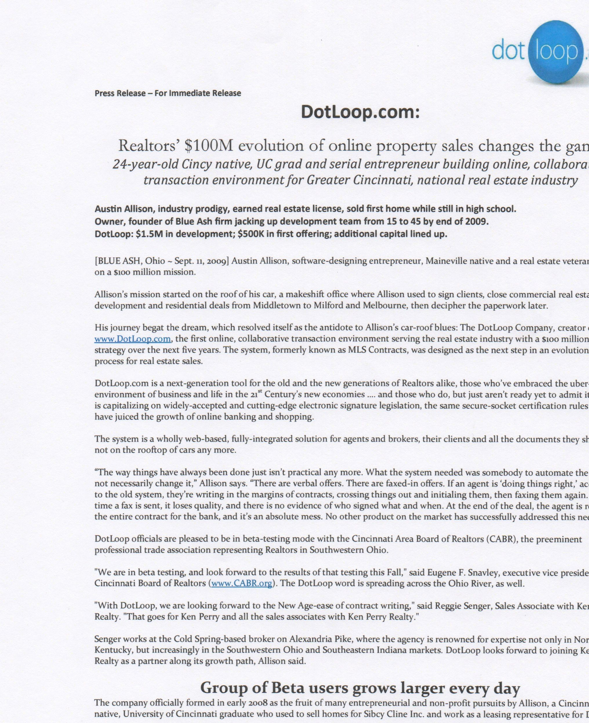 1st Press Release Written For Dotloop Sept 2009 Press Release