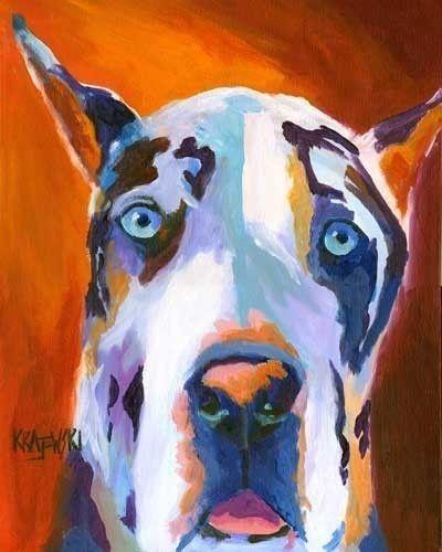 Great Dane Painting Dog Poster Harlequin Great Dane Art Print Of
