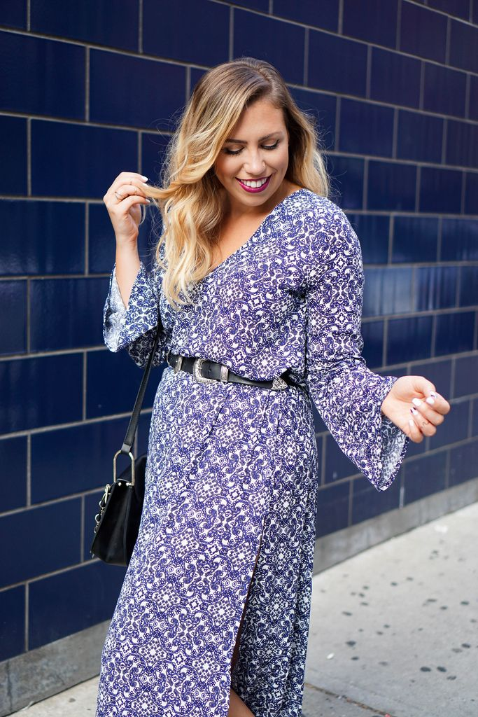 Printed Blue Bell Sleeve Maxi Dress NYFW Living After Midnite Jackie ...