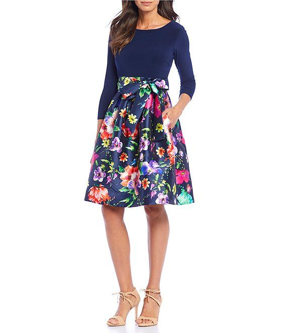 9c1348c1c66 Jessica Howard Floral Print Tie Waist A-Line Dress in 2019
