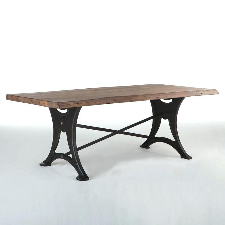 Wooden Dining Table With Wrought Iron Legs Reclaimed Wood Metal Designer Legsiron Leg For Picnic