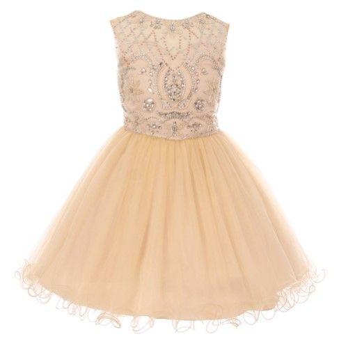 716188182 Big Girls Champagne (Beige) Beaded Tulle Corset Short Junior Bridesmaid  Dress 8-16, Size: 14